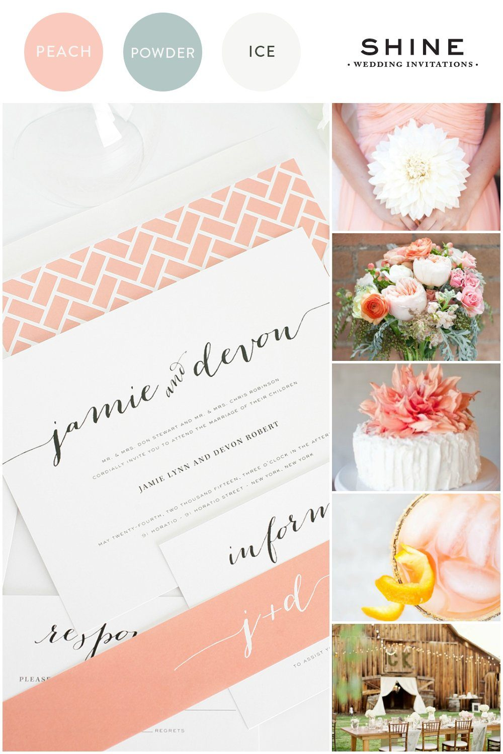 Wedding palette with peach, white and blue
