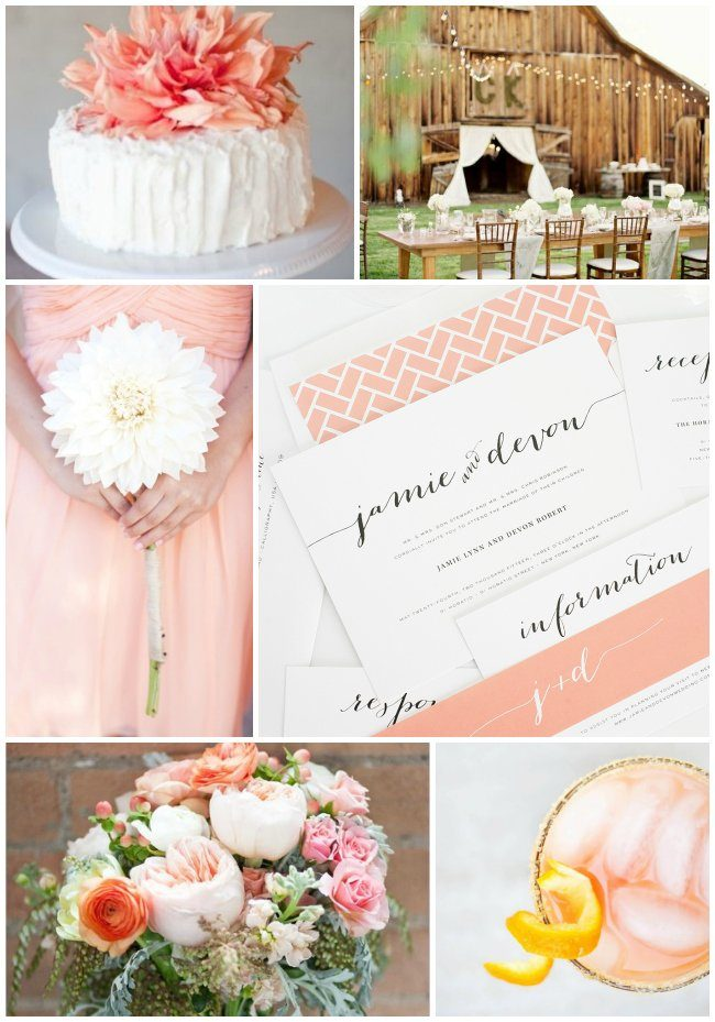 Country chic and peach wedding inspiration