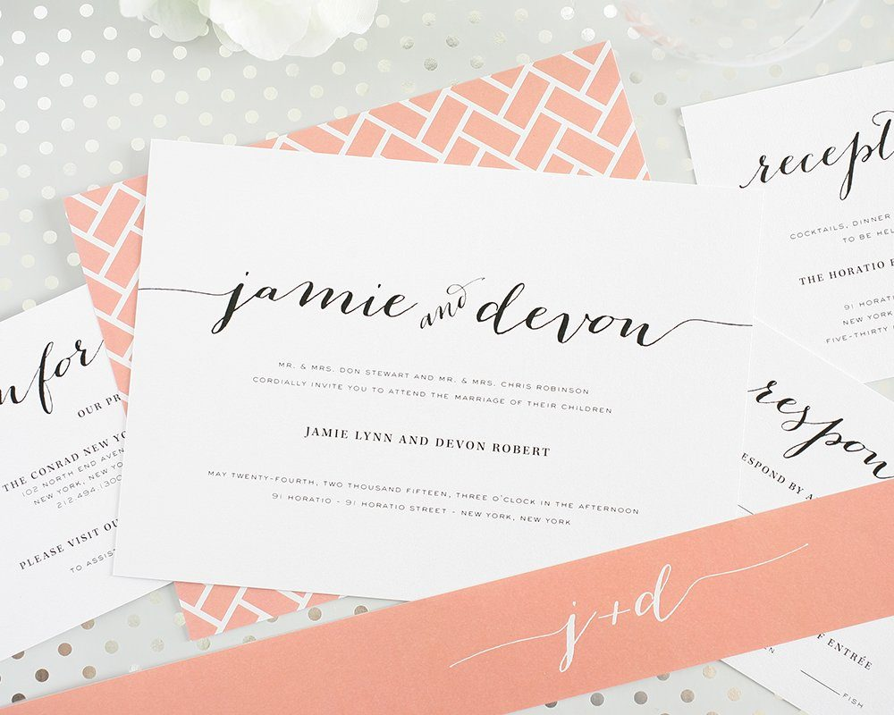 Peach Wedding Invitations with Chic Typography – Wedding Invitations