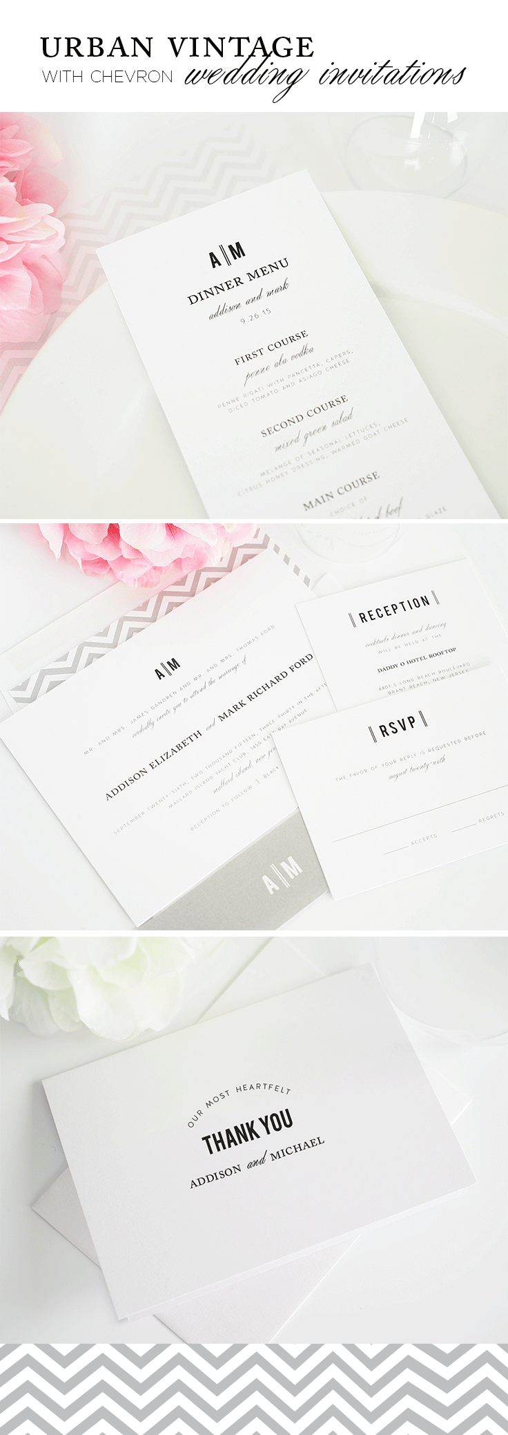Urban Vintage Wedding Invitations with Chevron Envelope Liner