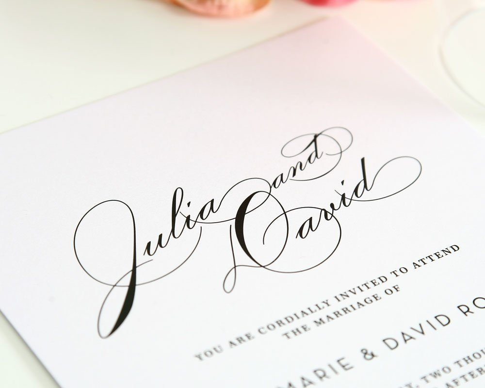 Glam wedding invitations with script