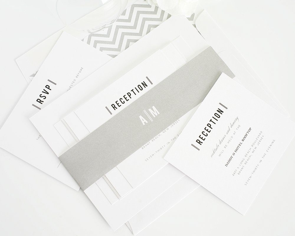 Gray Wedding Invitations with chevron