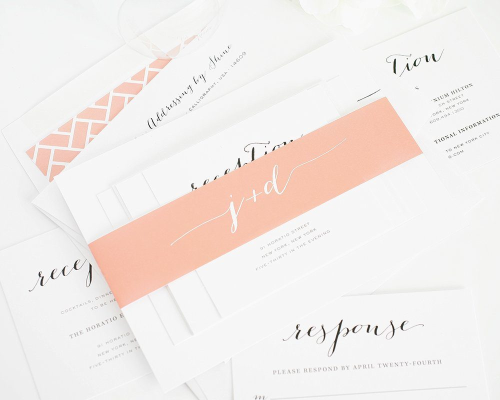 Wedding Invitations in Peach with Chic Typography