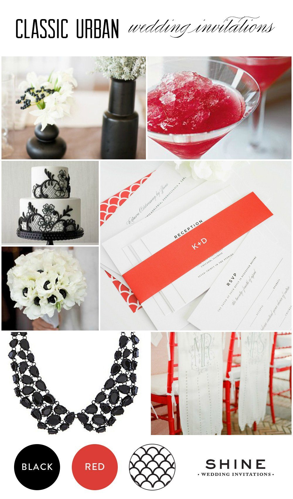 Black, white and red wedding inspiration