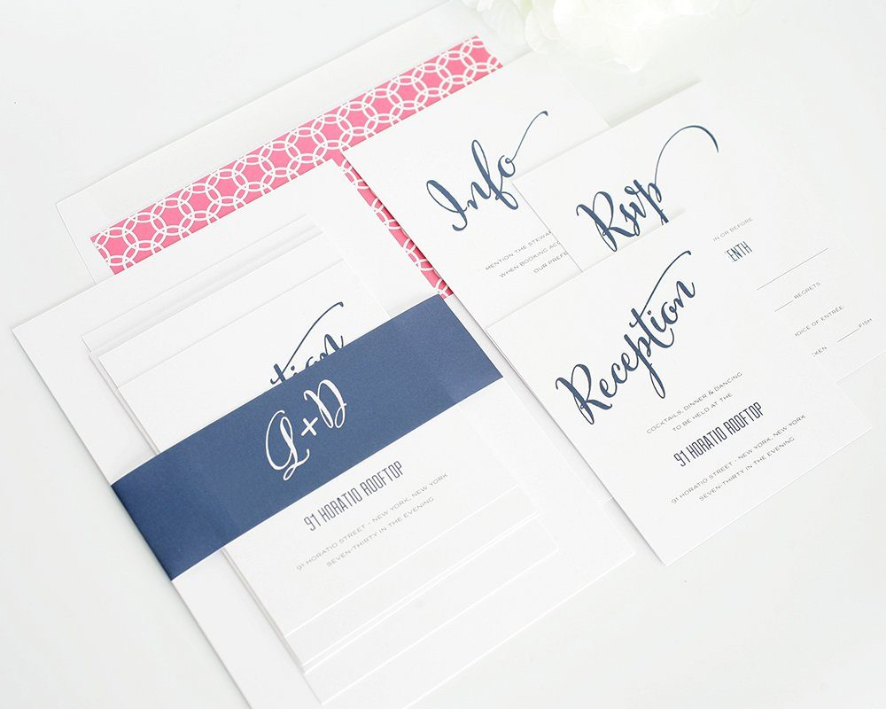 Dark Blue Wedding Invitations: Modern Script Wedding Invitations In Navy Blue
