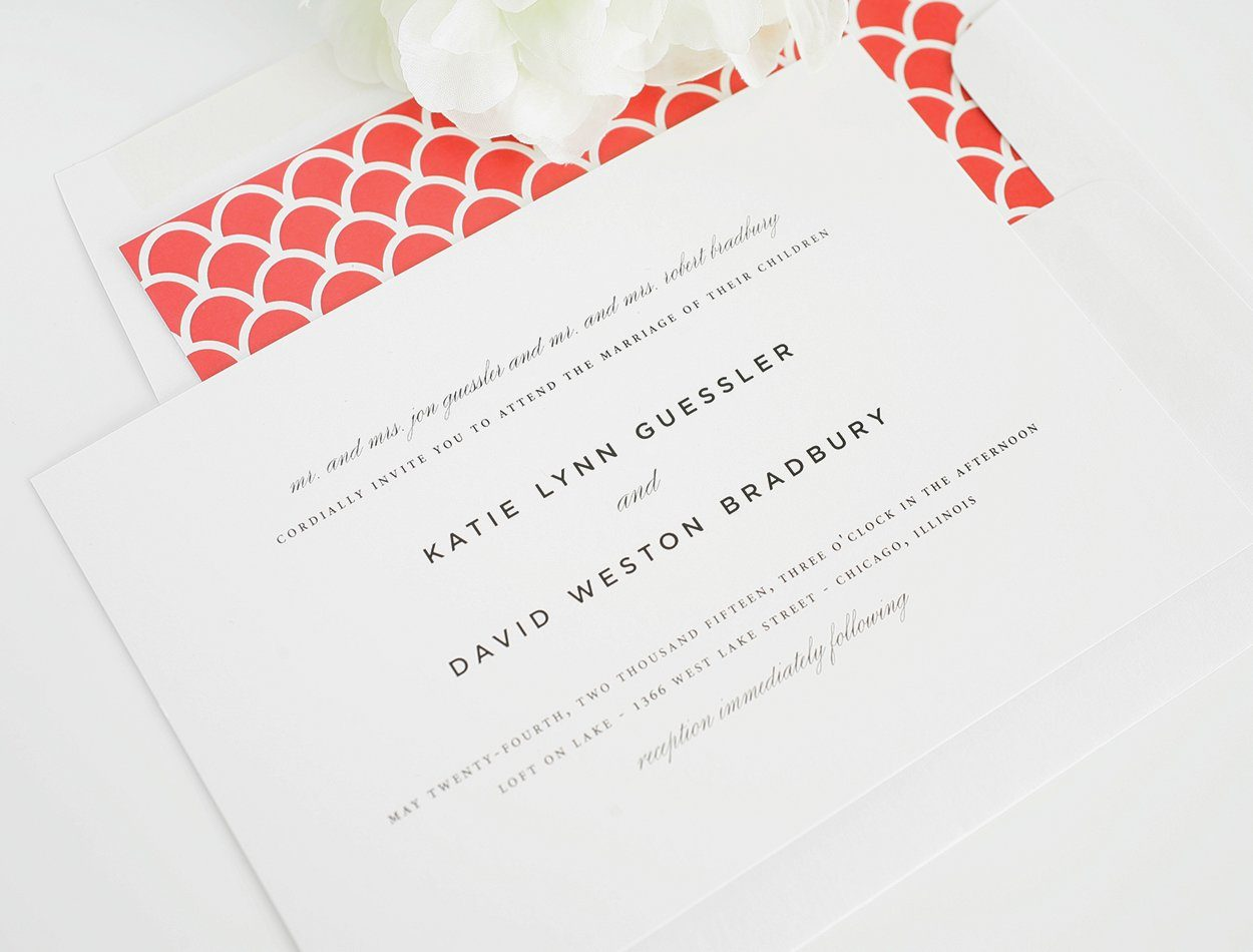 Classic wedding invitations with script and text