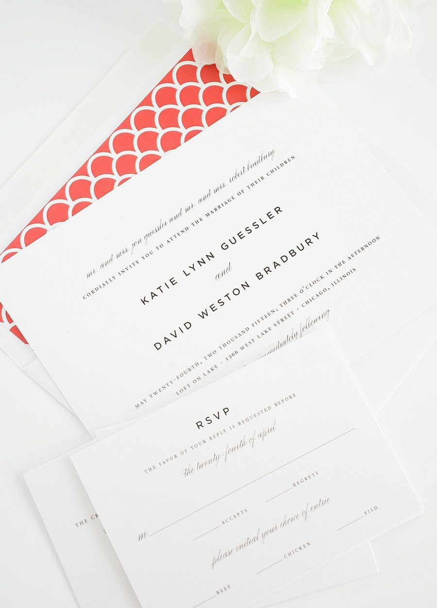 Classic wedding invitations in red