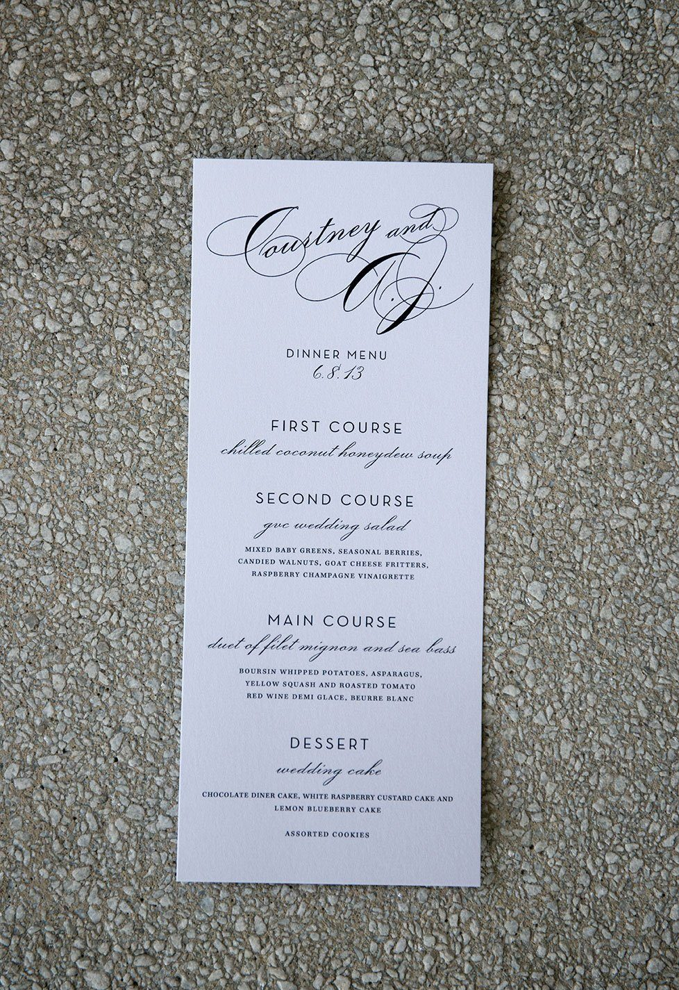 Elegant and simple wedding menu