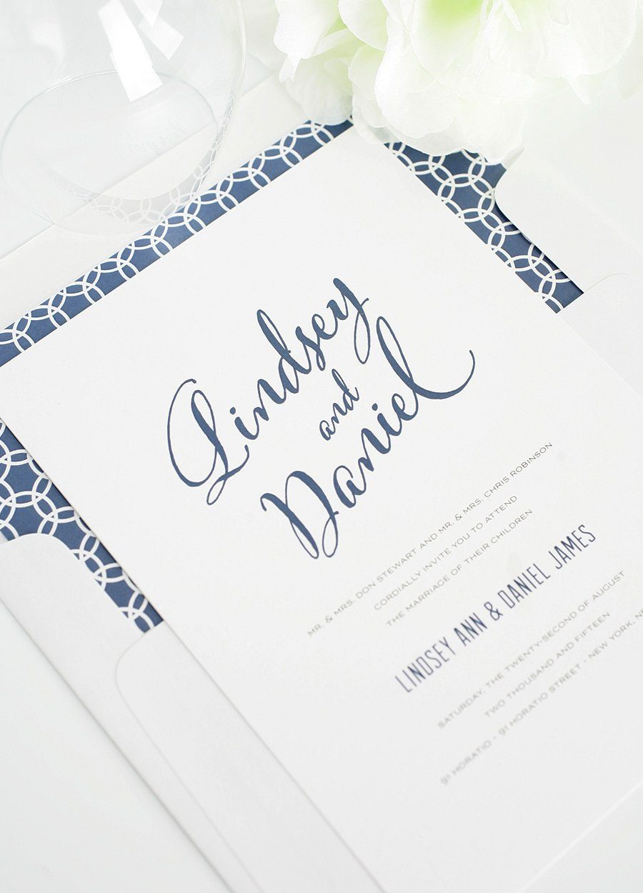 Modern Script Wedding Invitations in Navy Blue