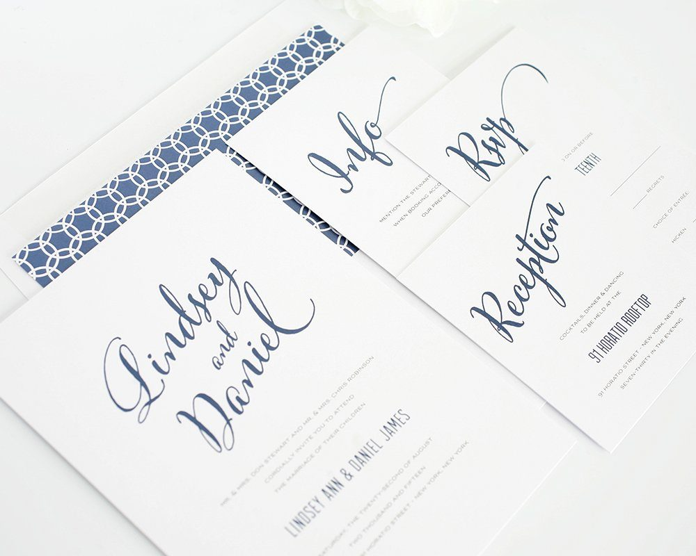 Modern wedding invitations in blue