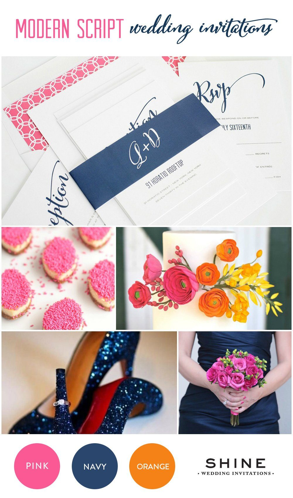 Navy blue wedding invitations for Navy blue and pink wedding