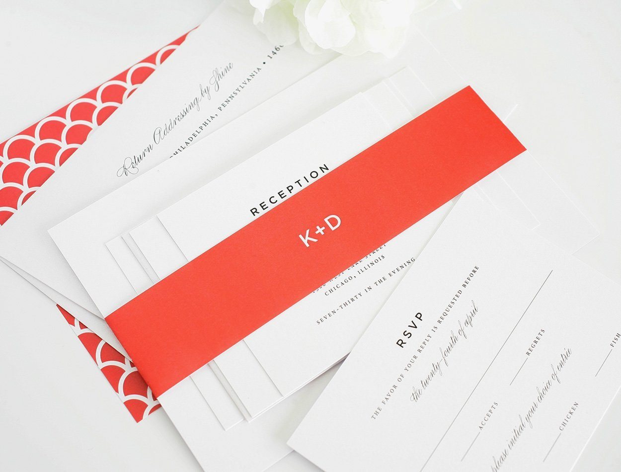 Red wedding invitations with classic design