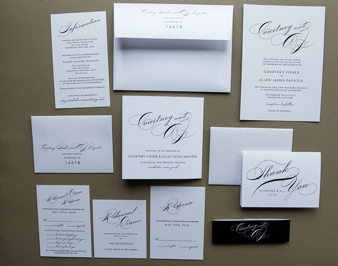 Elegant and simple wedding invitation package