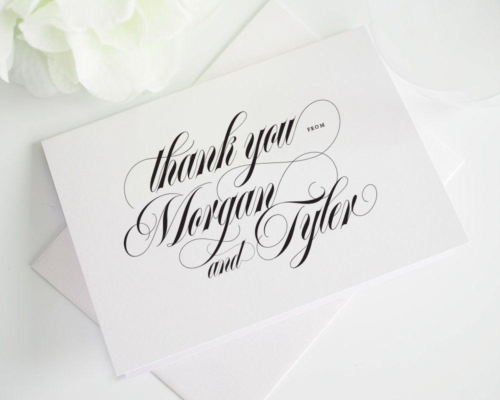 Wedding thank you cards with calligraphy