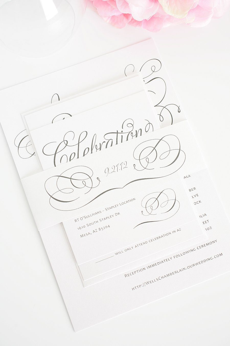 Gray Calligraphic Invitations