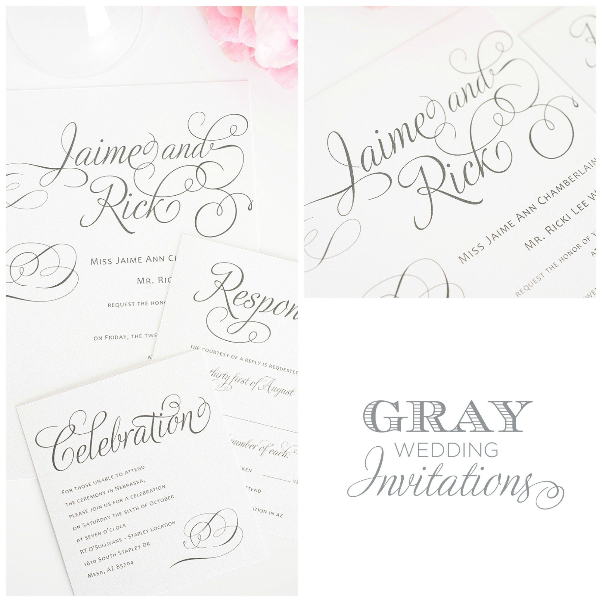 Calligraphic Gray Wedding Invites