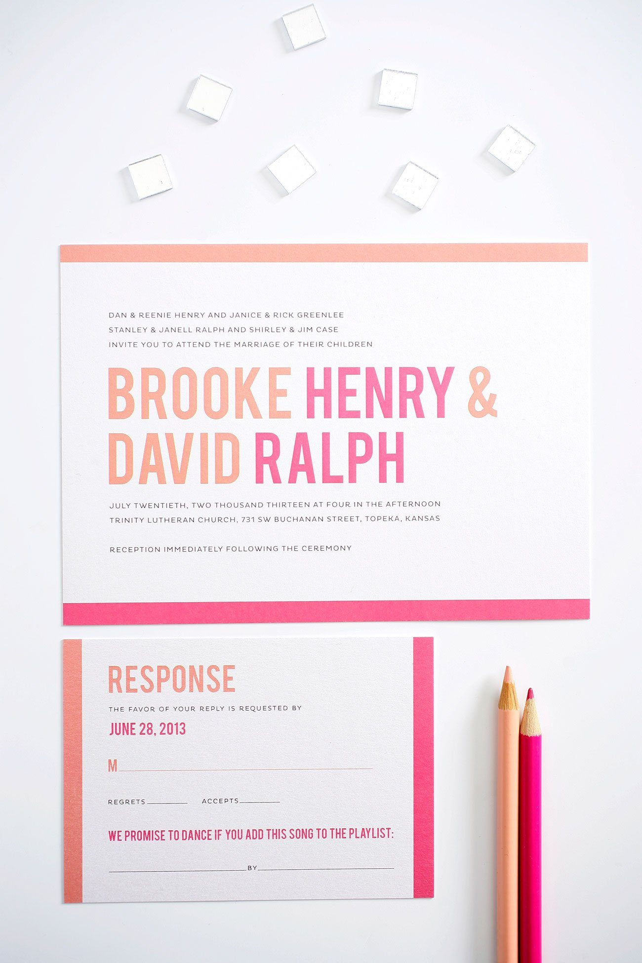 Modern wedding invitations in peach and pink