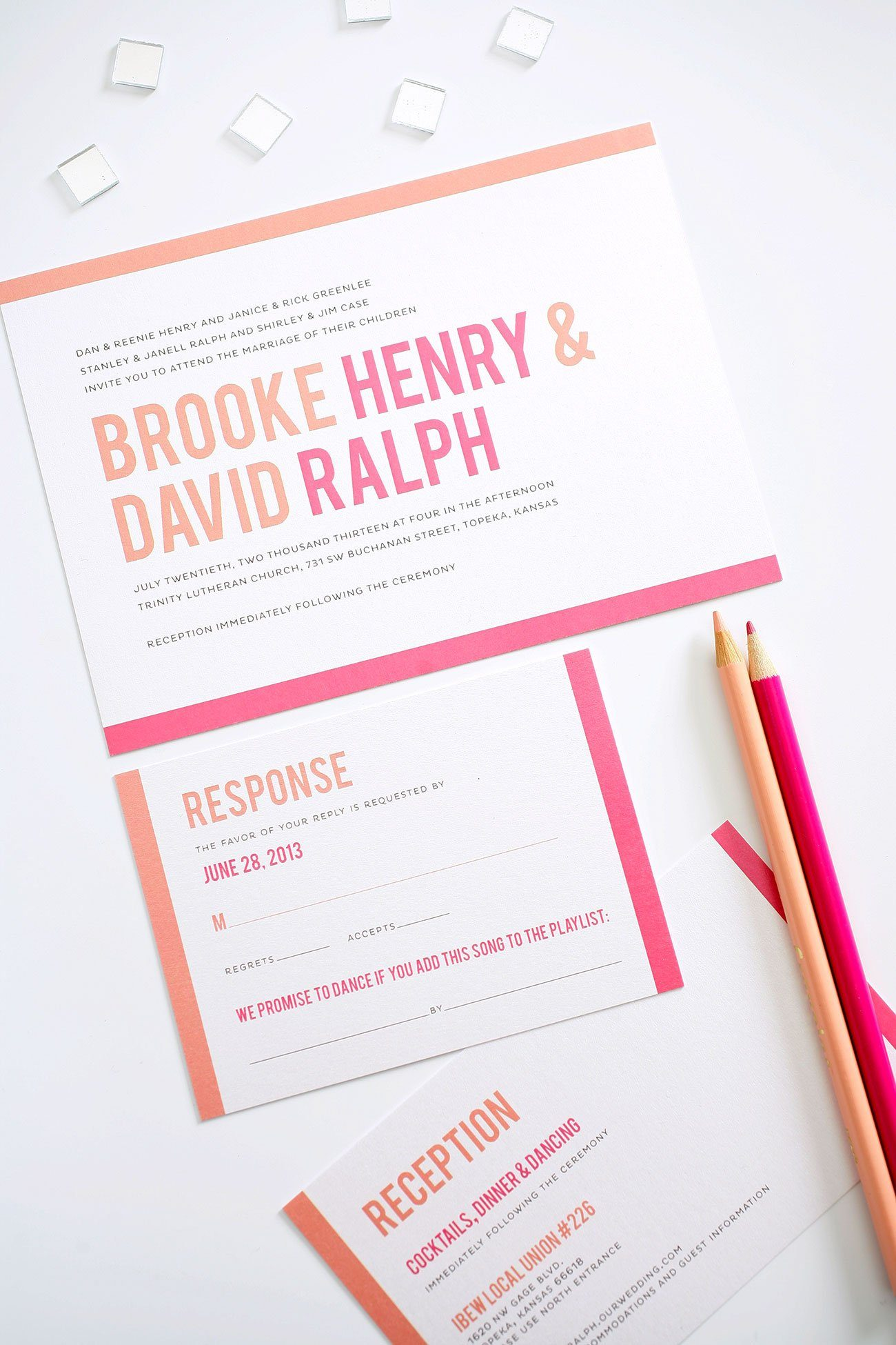 Wedding invitations in pink and orange