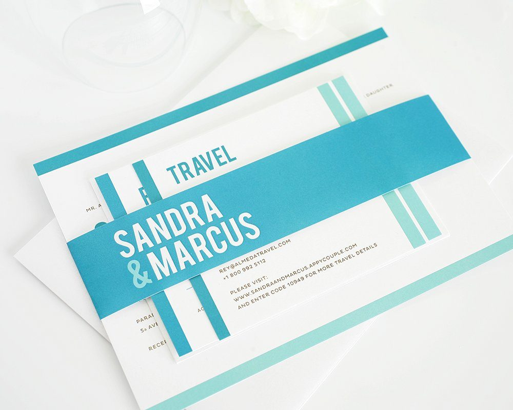 Modern Wedding Invitations in Teal Blue