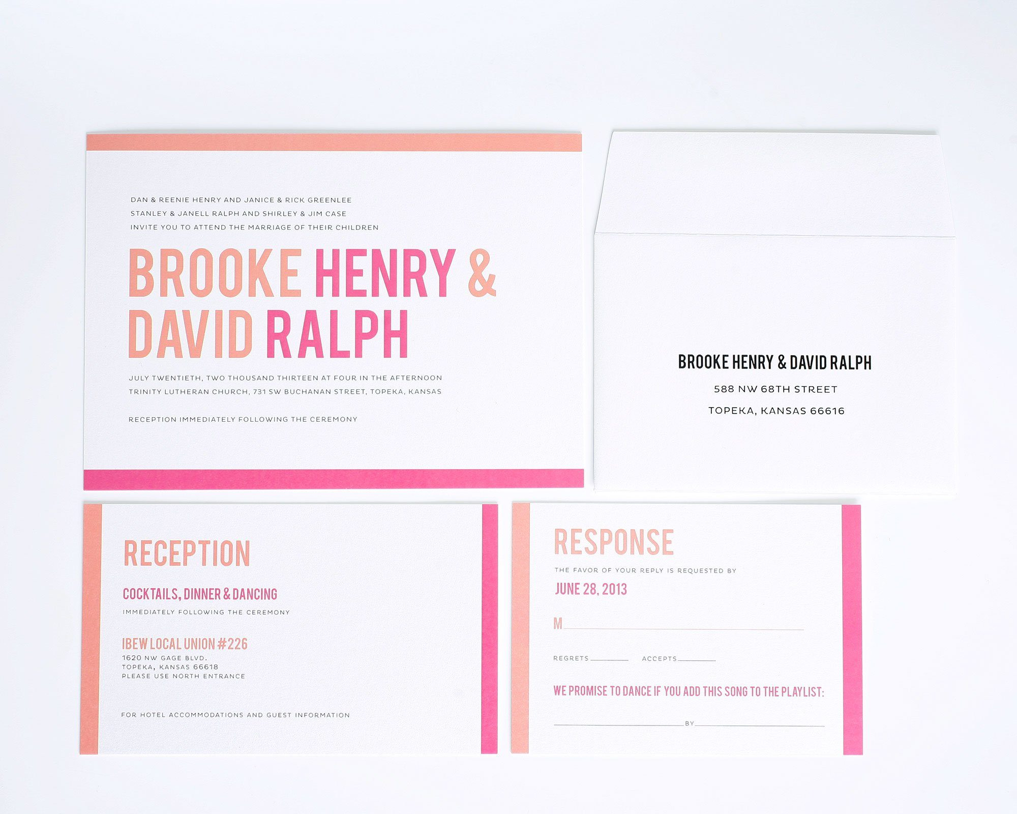 Modern wedding invitations in pink with peach borders