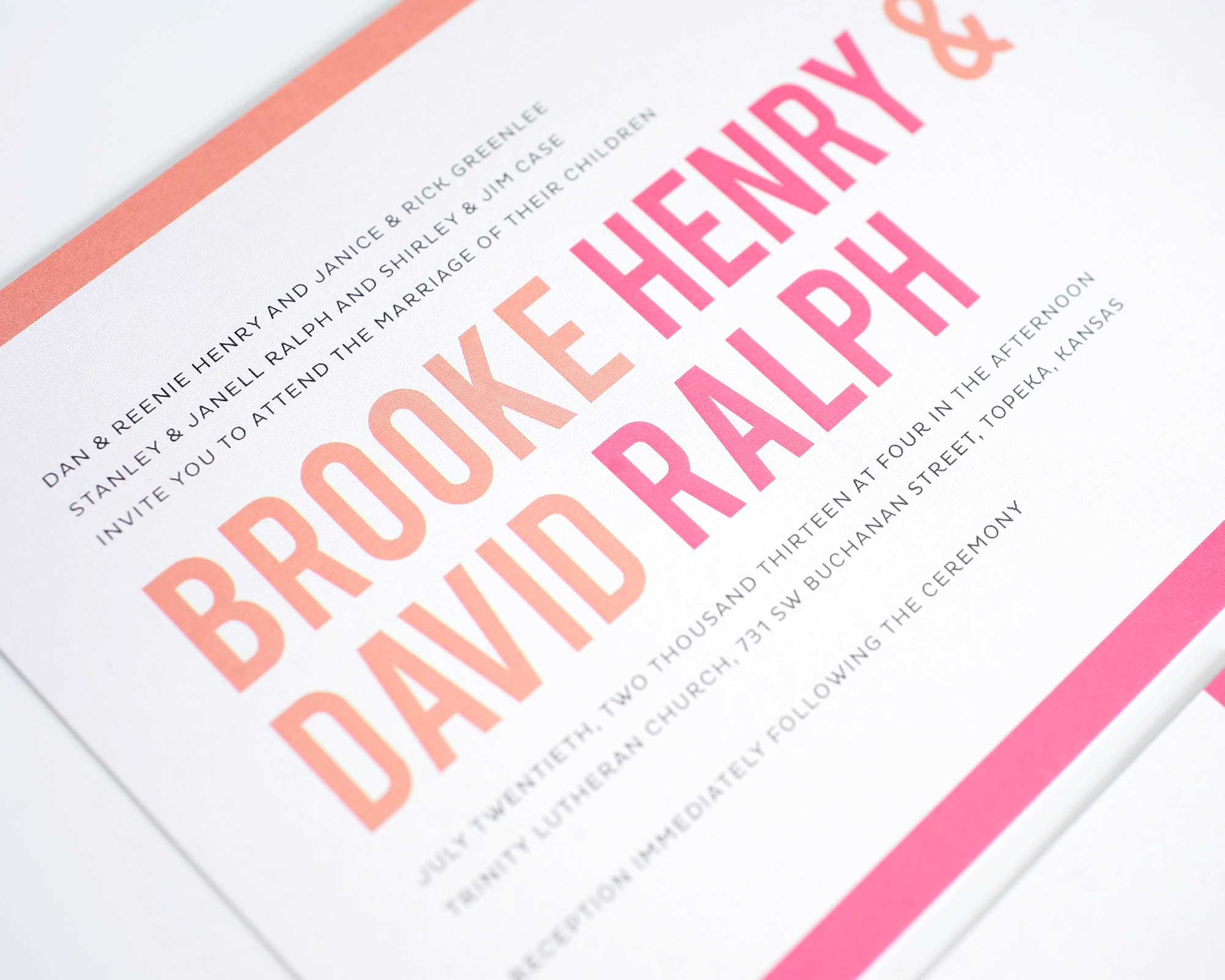 Wedding invitations with modern typography