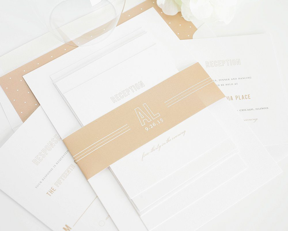 Neutral Wedding Invite with Monogram