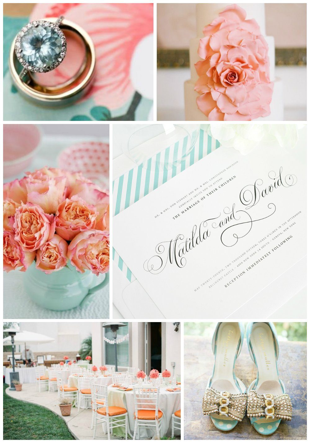 Peach, aqua and gold wedding inspiration and details