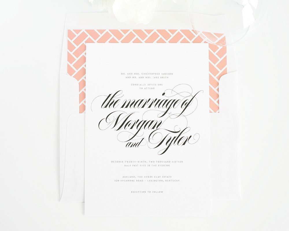 Upscale wedding invitations with calligraphy