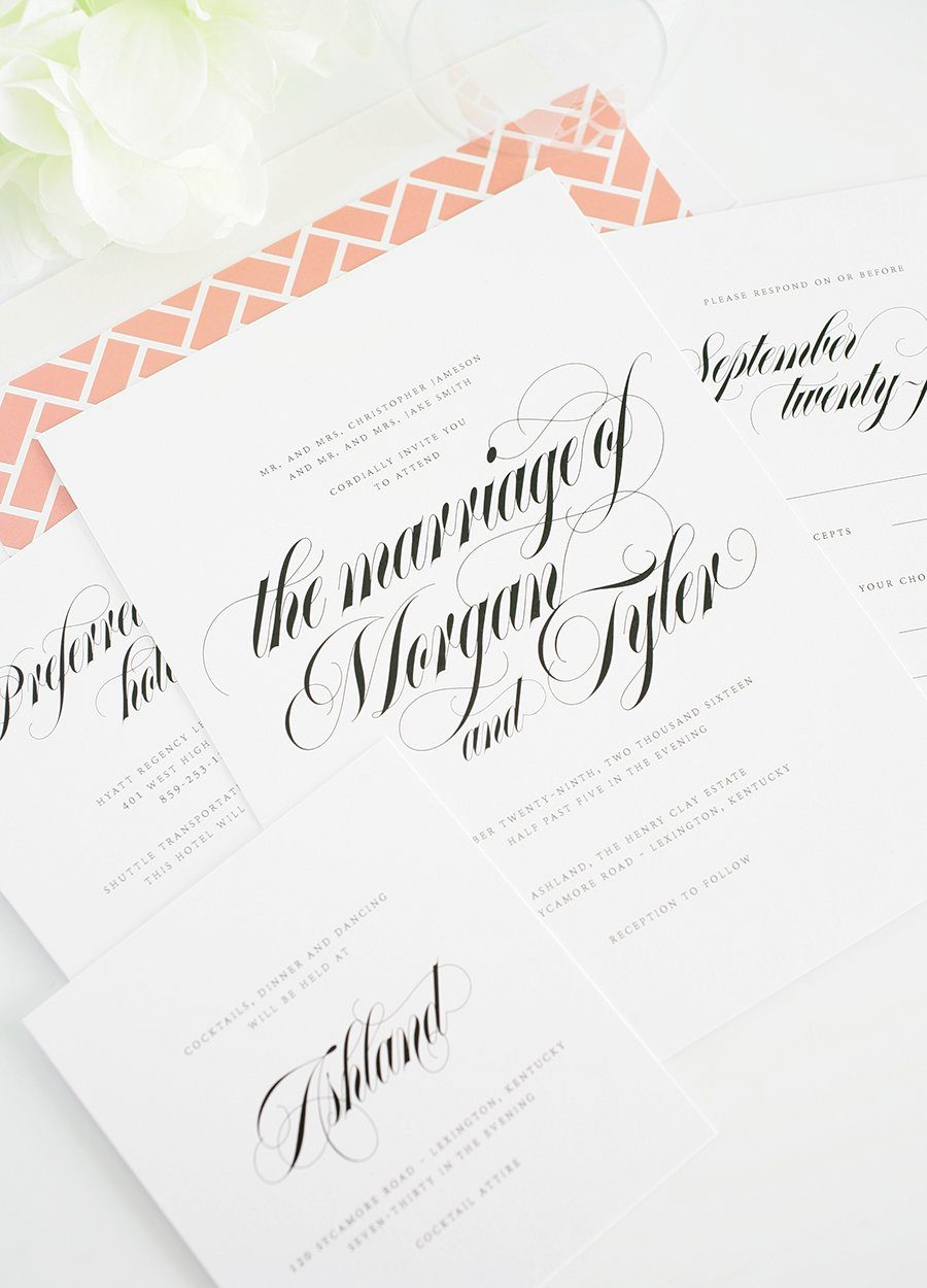 Wedding Invitations With Gorgeous Calligraphy Wedding