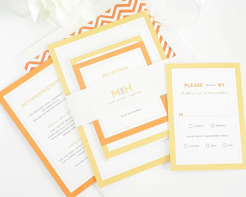 Wedding Invitations in Orange with Monogram