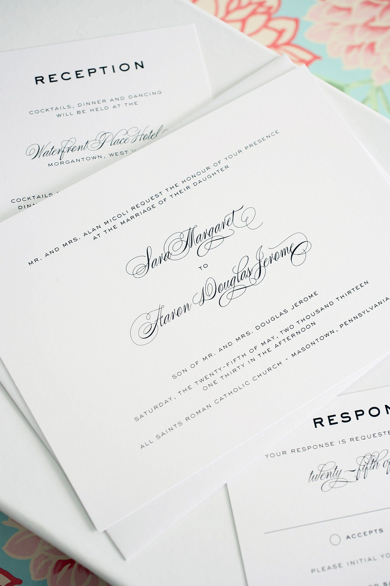 Timeless wedding invitations with script