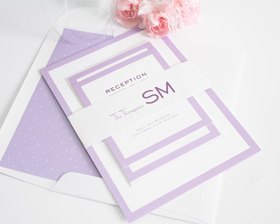 Purple Wedding Invitations with Polka Dot Liner