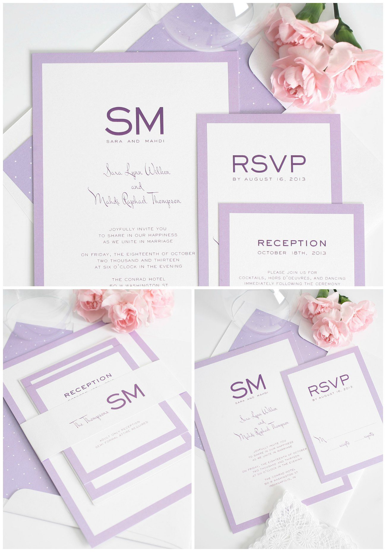 Light Purple wedding invitations with borders and monogram