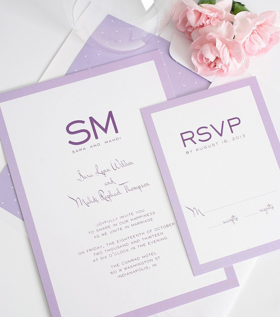 Purple Wedding Invites by Shine Wedding Invitations