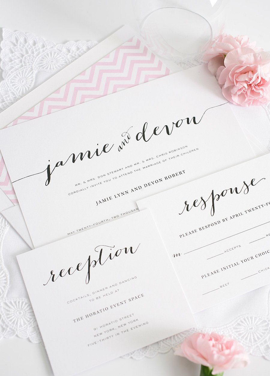 Wedding Invitations with Unique Script Names and a Pink Envelope Liner ...