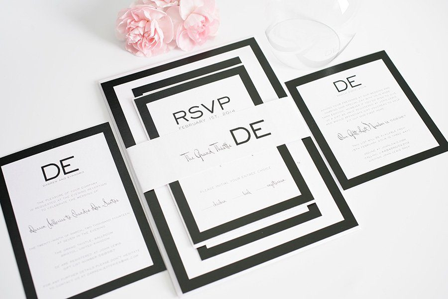 Modern Black Wedding Invitations