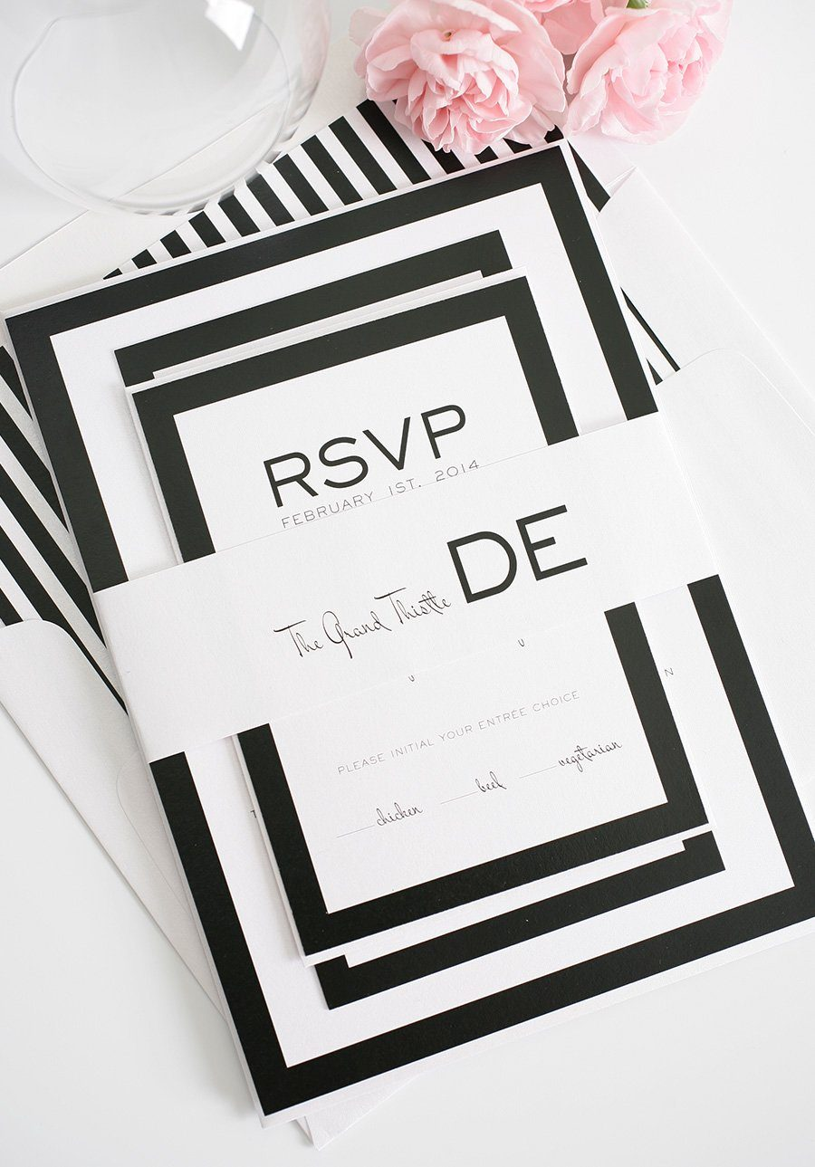 Modern wedding invitations in black and white wedding invitations wedding invitations black wedding invitations with borders and stripes filmwisefo