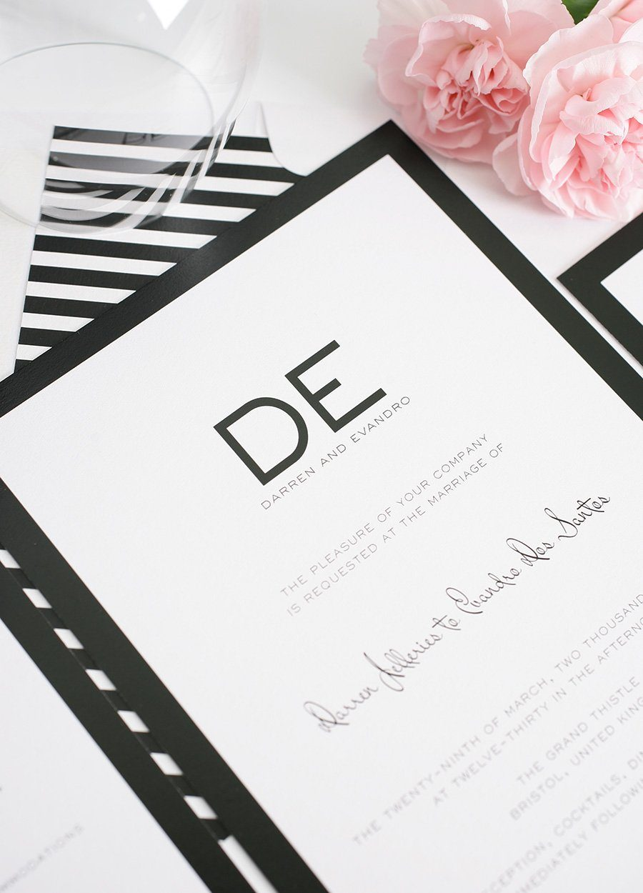 Modern wedding invitations in black and white wedding invitations modern wedding invitations in black and white filmwisefo