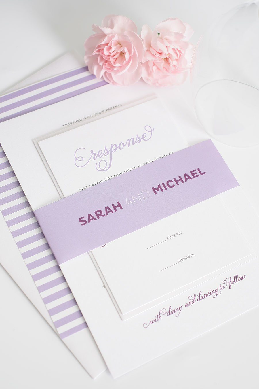 Cute Wedding Invitations in Light Purple