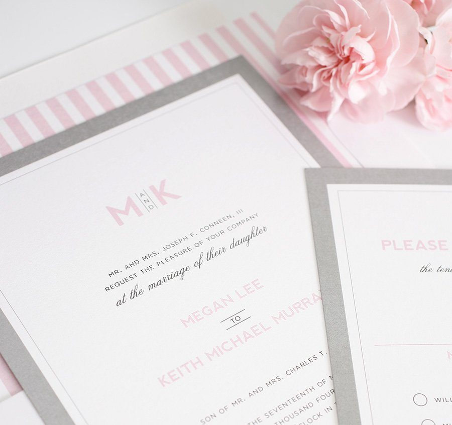 wedding invitations with pink and gray accents wedding invitations