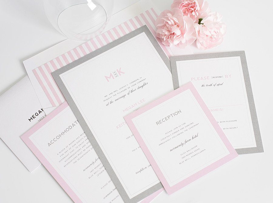 Gray and Pink wedding invitation set