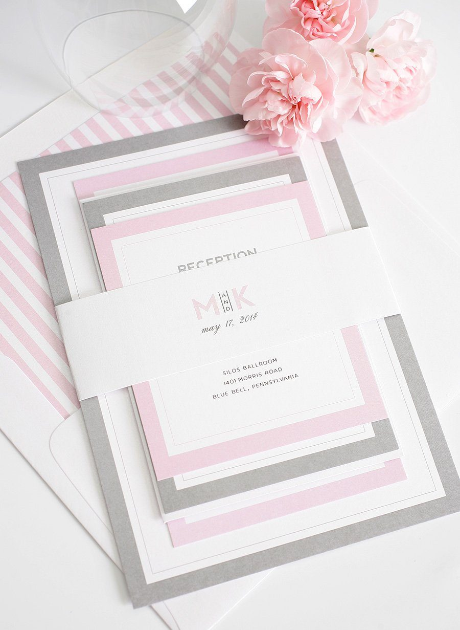 Grey And Pink Living Room Decor: Gorgeous Wedding Invitations With Pink And Gray Borders