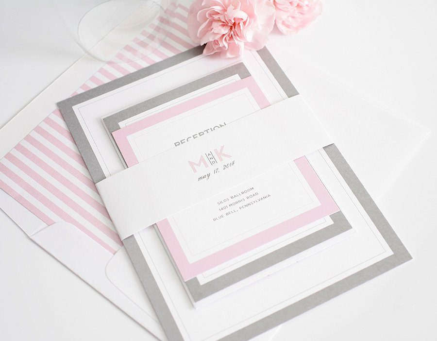 Wedding Invitations with Pink and Gray Accents