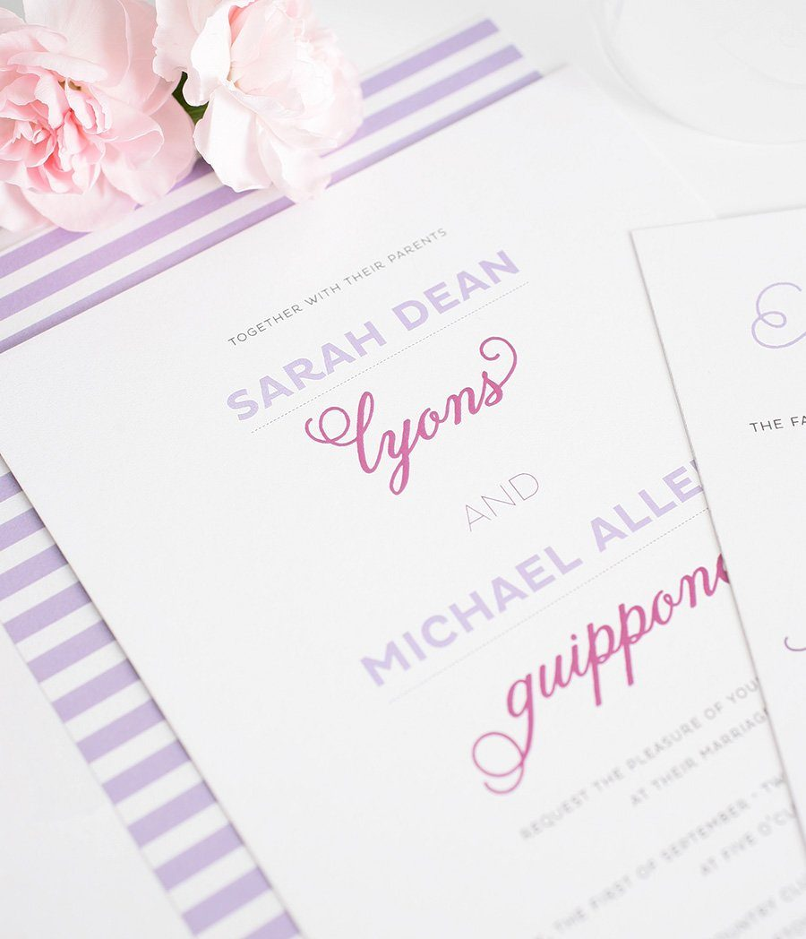 Whimsical Wedding Invitations in Light Purple and Orchid – Wedding ...