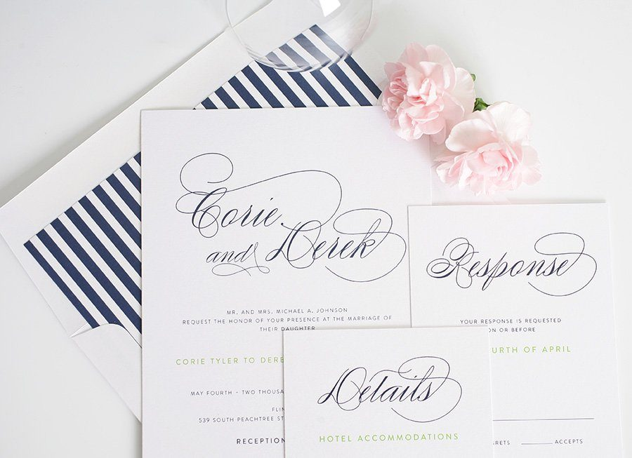 Elegant wedding invitations with navy blue stripes