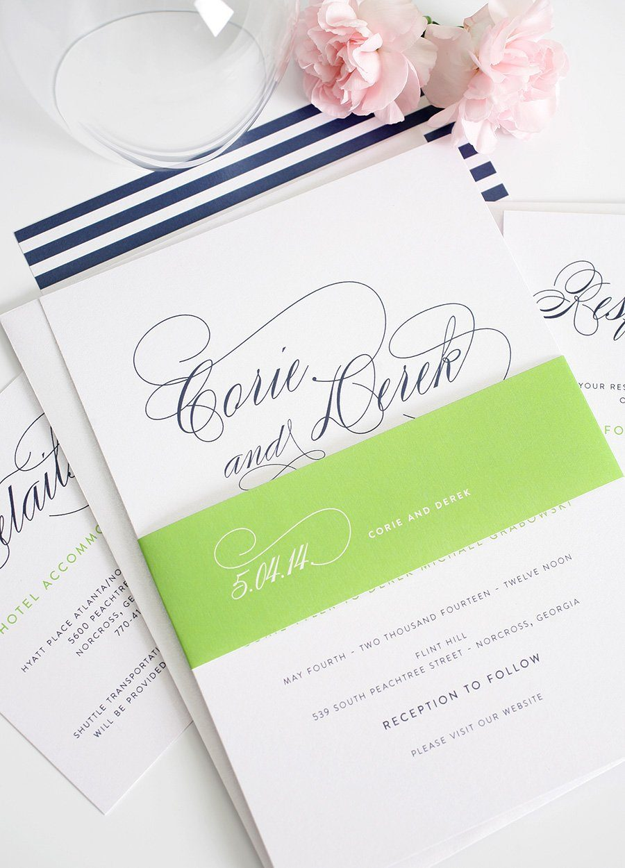 Navy blue wedding invitations with stripes and pretty script font