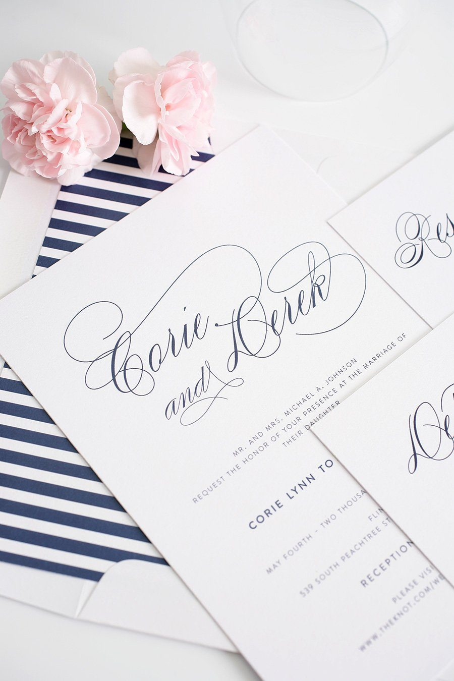 Navy Blue wedding invitations with calligraphy