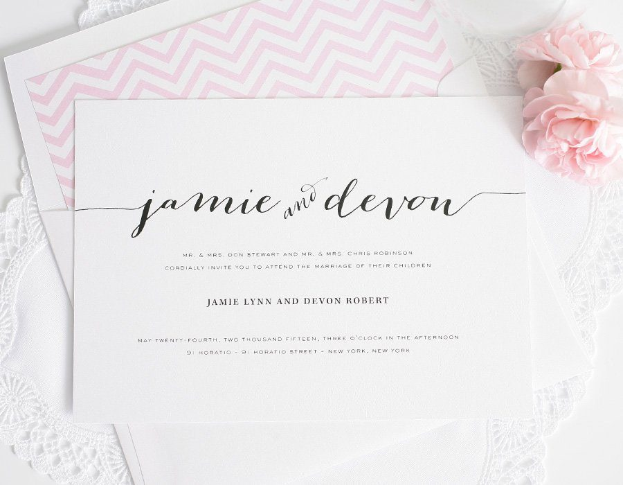 Wedding Invitations With Unique Script Names And A Pink