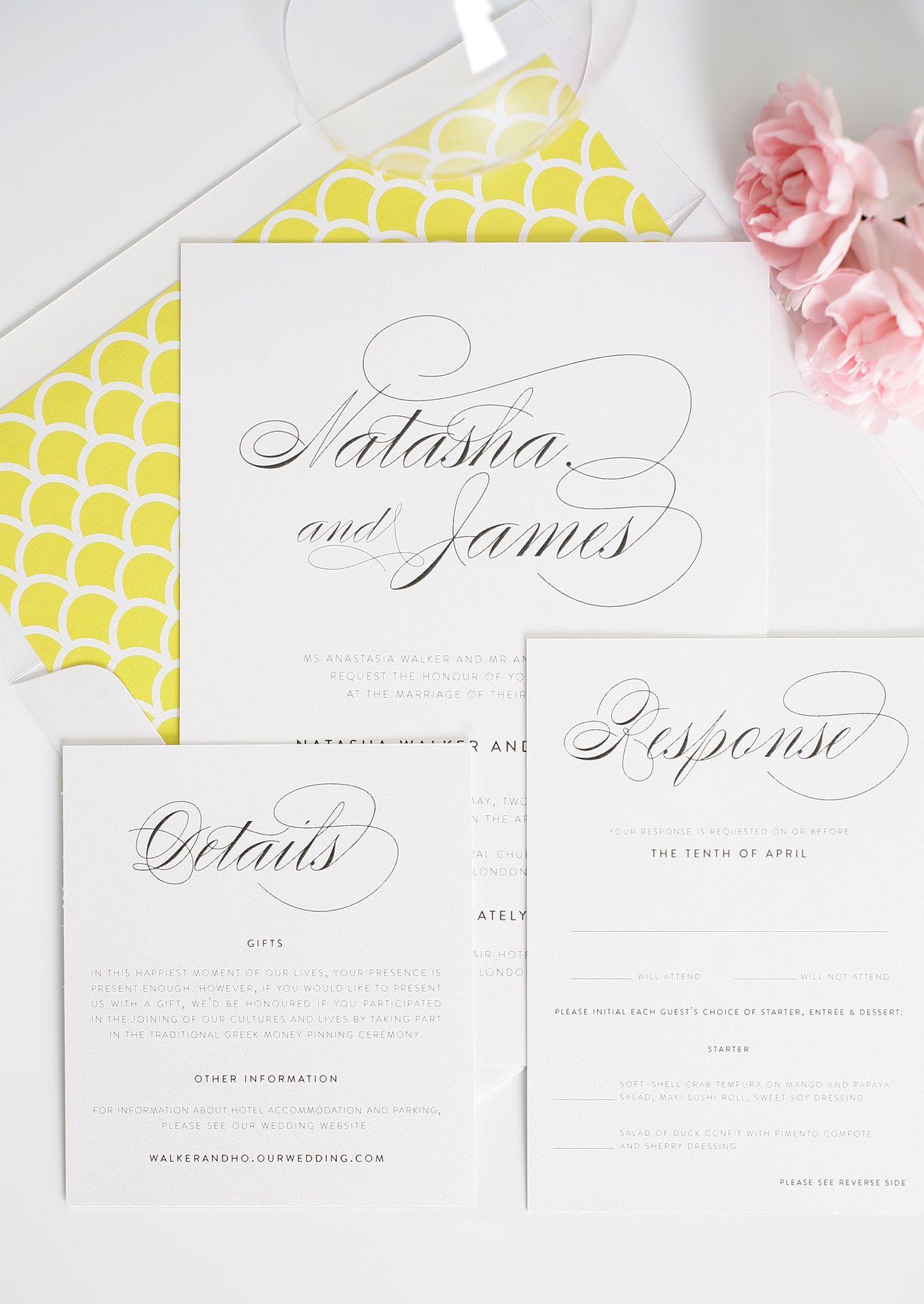 Simple wedding invitations with yellow script
