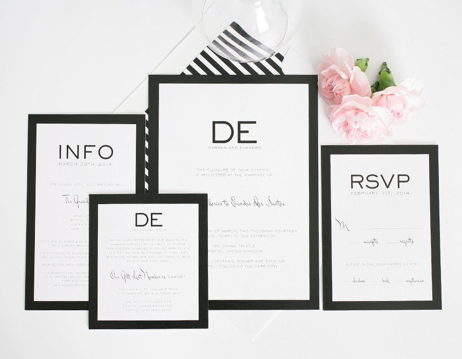 modern wedding invitations in black and white – wedding invitations, Wedding invitations